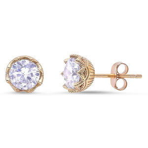 Solitaire Stud Earrings Round CZ Yellow Tone